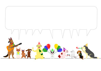 party dogs border with speech bubbles