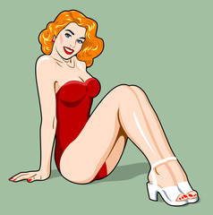 Image of a sexy girl in a traditional style of Old school tattoo pin up