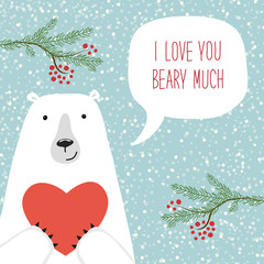 Cute retro hand drawn Valentine's Day card as funny Bear with Heart and speech bubble