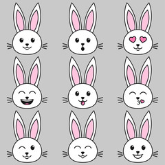Set of white cute rabbits on grey background