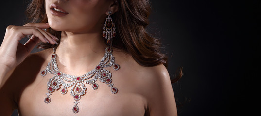 Beautiful Woman with Diamond Bib Necklace for Christmas Holiday