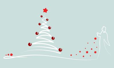 """Grußkarte - """"Weihnachtsbaum mit Engel"""" (in Grün)"""