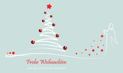 """Grußkarte - """"Weihnachtsbaum mit Engel"""" (Grün)"""