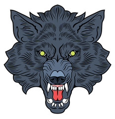 The head bared ferocious wolf. Drawing in the style of Old School Tattoos