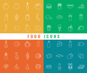 Food icons set. Fruits, Vegetables, Fast food and every day food. Outline icons style. Vector