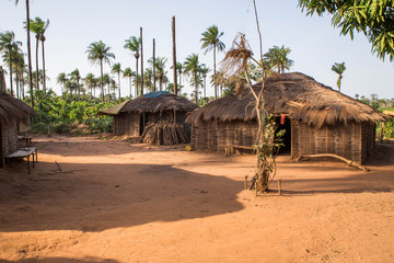 Foto auf Acrylglas Cappuccino West africa Guinea Bissau - West africa Guinea Bissau Bijagos Islands - a traditional African village, houses with palm leave