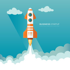 Launching a rocket into space. illustration of a business startup template.  Flat design modern vector illustration concept of new project start up development and launch a new innovation product