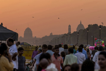 Sunset over the government buildings, New Delhi, India