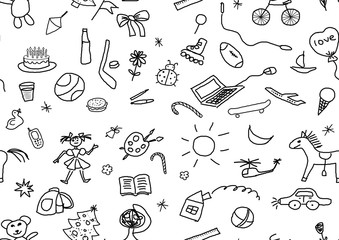 seamless kids drawings set