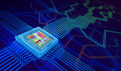 Processor Abstract Background. 3D illustration
