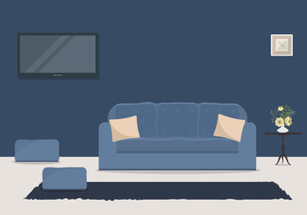 Living room in a blue color with a sofa and a home cinema. There is a table, a vase with flowers and a picture on the wall in the image. Vector flat illustration.