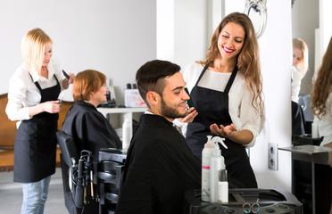 Male customer in a barbershop