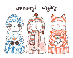 Hand drawn vector illustration of a cute funny cat, owl, panda, in knitted hats and sweaters, holding present, text Warmest wishes. Isolated objects on white background. Design concept for children.