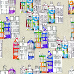 Seamless pattern eith watercolor Amsterdam houses