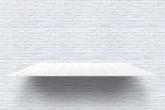 Wooden plank shelves and White brick wall background. For product display.