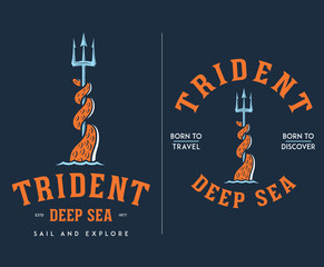 Colored trident deep sea travel and discover