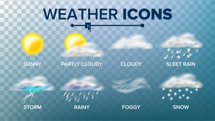 Fototapeta Weather Icons Set Vector. Sunny, Cloudy Storm, Rainy, Snow, Foggy. Good For Web, Mobile App. Isolated On Transparent Background Illustration