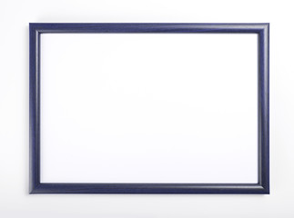 Blue frame for painting or picture on white background.