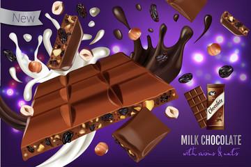Vector realistic illustration of milk chocolate with hazelnut and raisins.