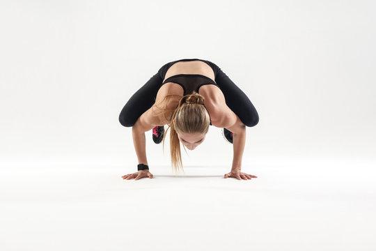 Yoga concept. Bakasana pose, padma.