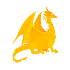 vector flat cartoon colored yellow majestic mythical dragon with horns and wings. Legendary mystery animal creature. Isolated illustration on a white background.
