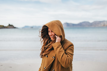 Smiling woman at lake
