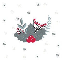 Christmas vector composition with berries. Winter decoration on white background. Frosty red berries.