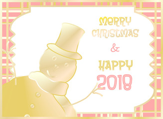 Christmas card decorated with snow puppet golden and orange. Merry Christmas and Happy New Year