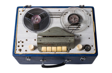 Image of Vintage homemade soviet magnetic audio tape reel-to-reel recorder on white background