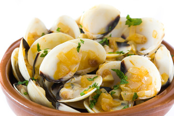 Clams with marinera sauce.Almejas a la marinera. Spanish recipe isolated on white background