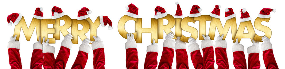 santa clause hands holding up merry christmas greeting golden shiny metal letters lettering with red white hats isolated wide panorama background