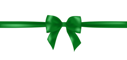 Vector green  ribbon bow