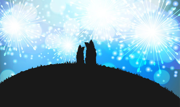 Silhouette of Two Dogs Sitting on the Hill and Looking at the Fireworks