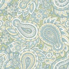 Paisley vector seamless pattern. Fantastic flower, leaves