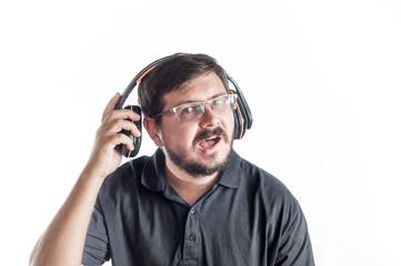 Portrait of 30 years old caucasian man listen music
