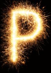 Sparkler firework light alphabet P isolated on black