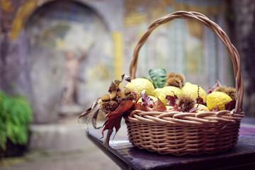 Lemon wicker basket decoration in Italian restaurant