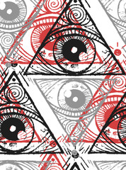 Seamless texture. Magic repeating background. Tile pattern with pyramid with eye. Gray, red and black triangles.