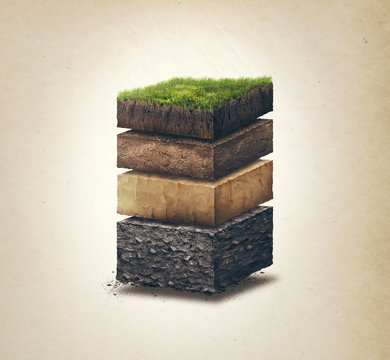 Soil layers. Four cross section soil layers. 3D illustration isolated on light background