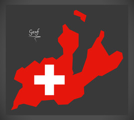 Genf map of Switzerland with Swiss national flag illustration