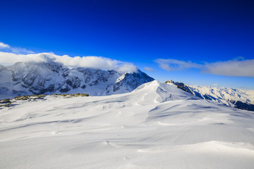 Fototapete - Snow in winter season, mountains. South Tirol, Solda in Italy.