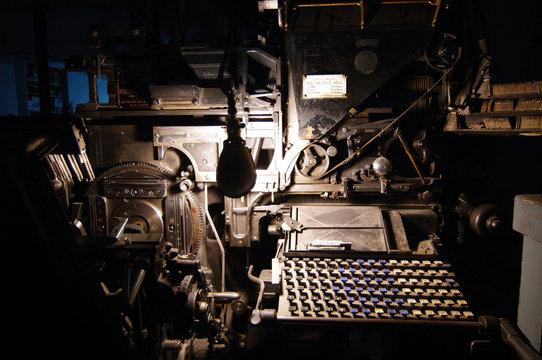 Linotype machine at printshop