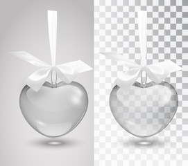Glass vector romantic decoration with a ribbon on a white background. Template. Mocap. Transparent vector object design, layout. Vector illustrator. 10 EPS
