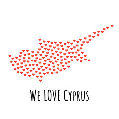 Cyprus Map with red hearts - symbol of love. abstract background
