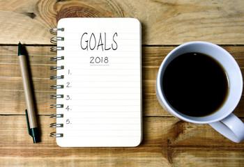 Goals 2018 on written on notepad