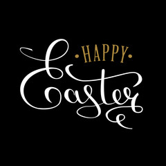 Happy Easter calligraphic text for the greeting card. An inscription written by hand with a thin pen. White text on a black background. Vector illustrations