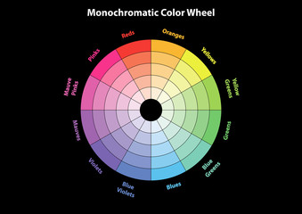 monochromatic color wheel, color scheme theory, vector isolated or black background