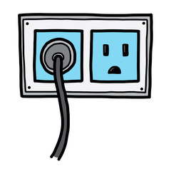 plug and electric socket / cartoon vector and illustration, hand drawn style, isolated on white background.