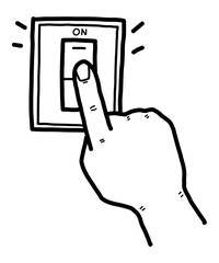 hand pushing electric switch / cartoon vector and illustration, black and white, hand drawn, sketch style, isolated on white background.
