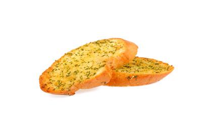garlic bread  on white  background